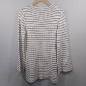 Mystree Cream & Tan Knit Long Pullover Sweater